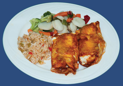 enchiladas, with mexican rice and vegetables