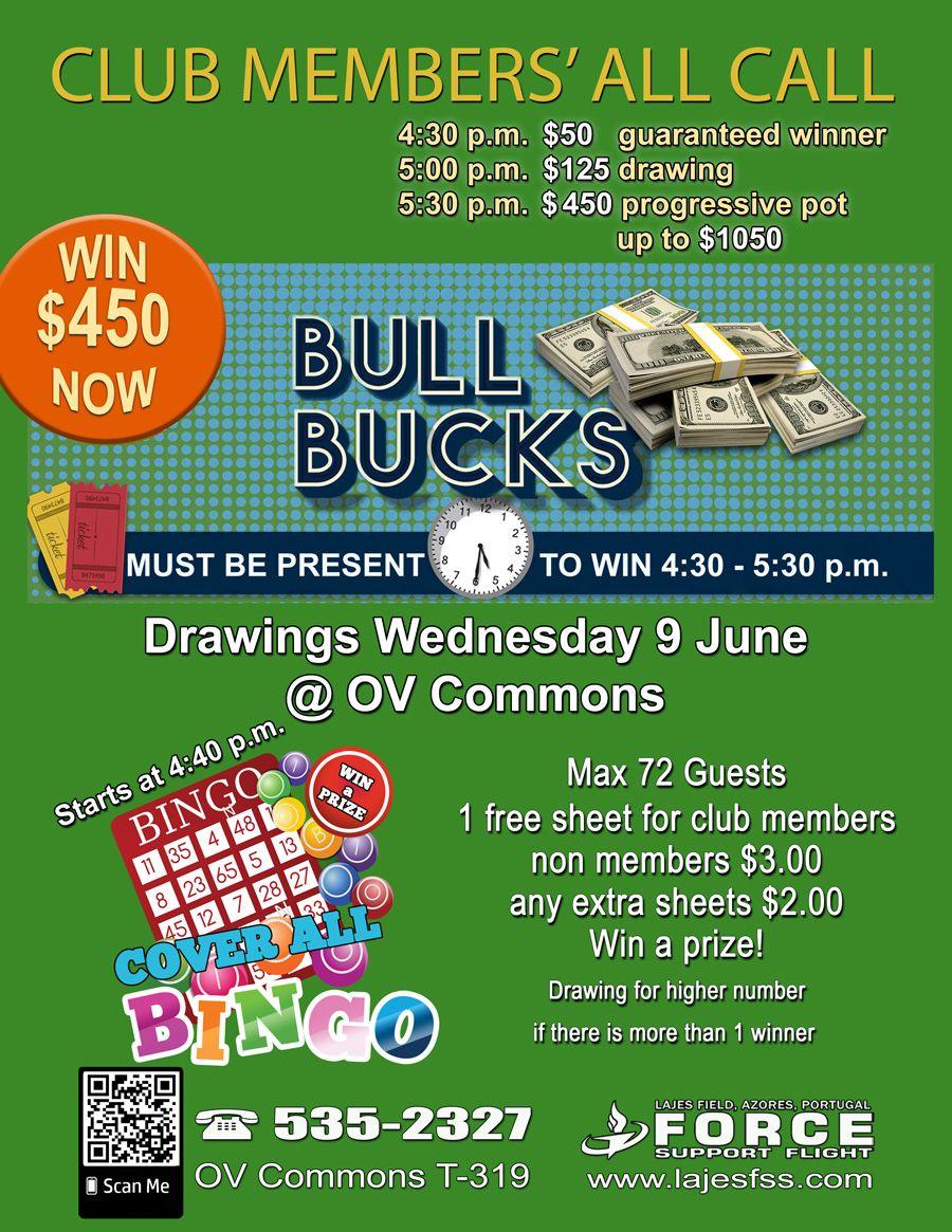 Bull Bucks + Bingo 9 Jun