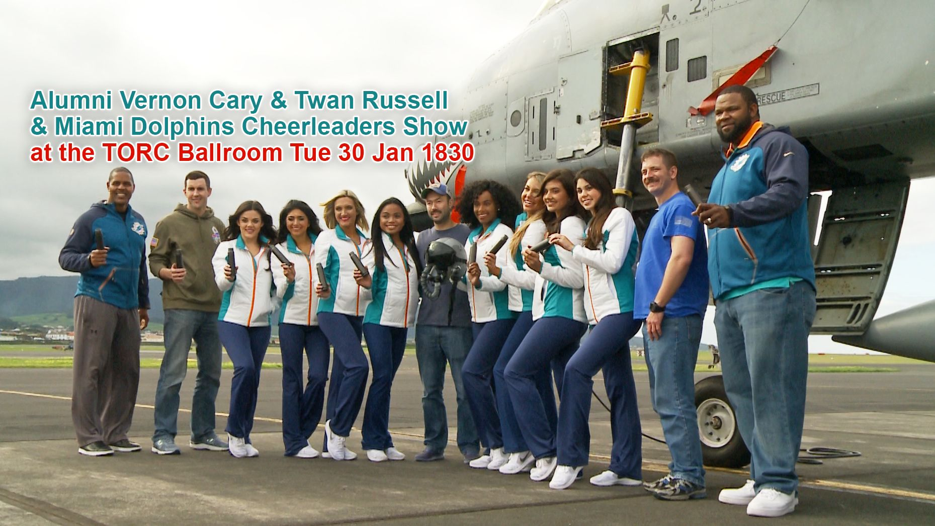 Alumni Vernon Cary & Twan Russell and Miami Dolphins Cheerleaders Show at the TORC Ballroom Tue 30 Jan 1900
