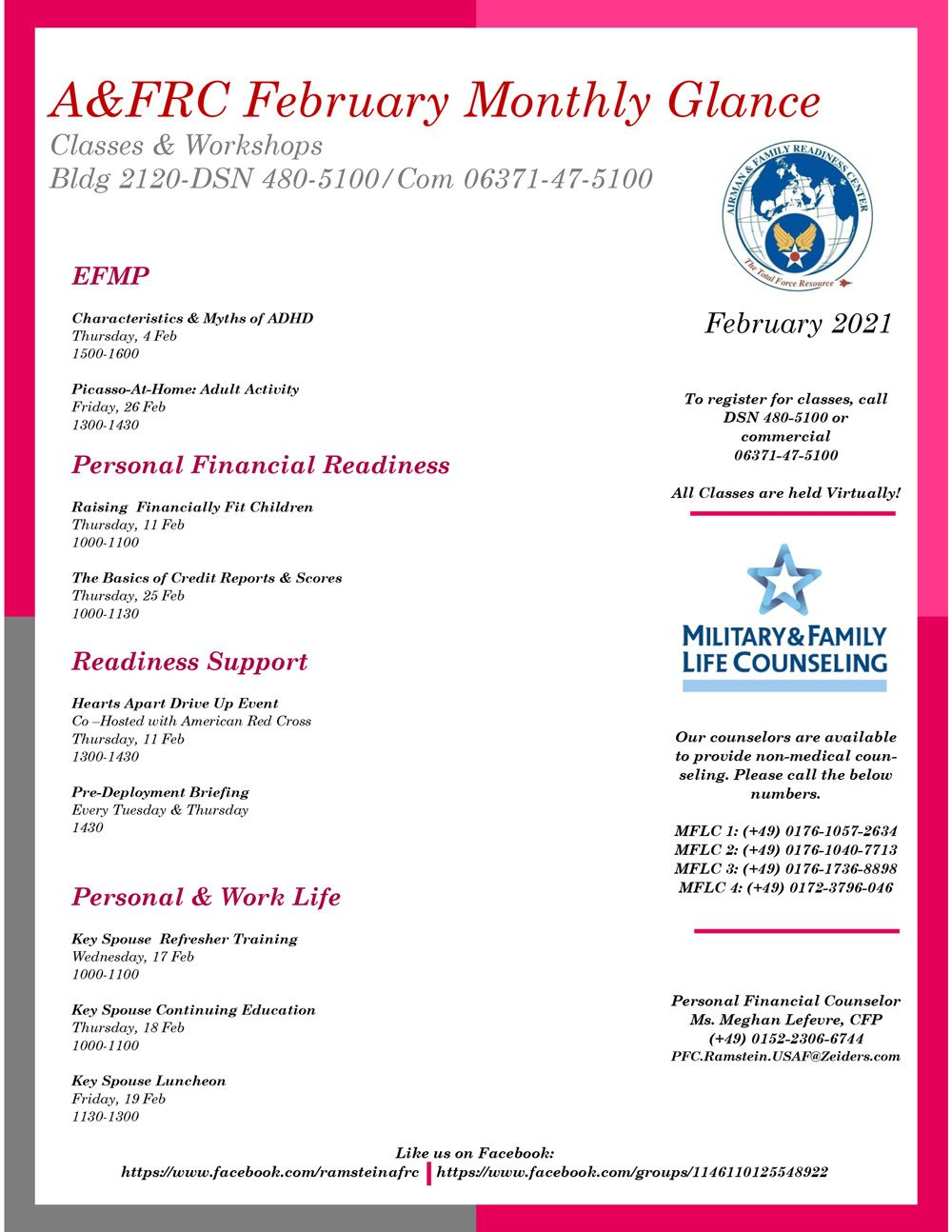 A&FRC February Monthly Glance